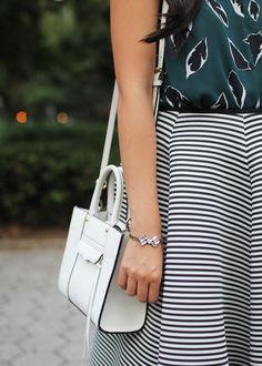 Striped Midi Skirt & Loren Hope Bow Bracelet