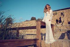 Vestido de noiva Julie Vino com mangas longas