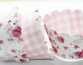 Pink & White Cupcake Wrappers - Baby Shower Cupcake Wrappers - Bridal Shower - Vintage Inspired Cupcake Wrapper