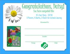 Daisy 5 Flowers, 4 Stories, 3 Cheers for Animals Journey Certificate