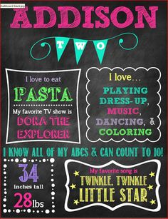 Second Birthday Chalkboard Poster/ Digital Poster-Sign with Milestones on Etsy, $20.00