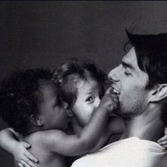 Tom Cruise with babies Connor and Isabella