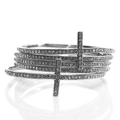 """Rhinestone Cross Bangle Set; 2.5"""" Diameter Opening; 5 Pieces; Silver Metal; Clear Rhinestones; Eileen's Collection. $28.99"""