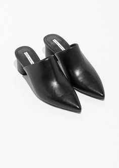& Other Stories image 2 of Pointed Block Heel Mules in Black
