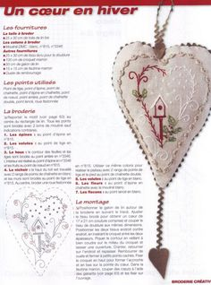 Embroidery inspiration: Hanging heart. Looks like French but you get the idea.