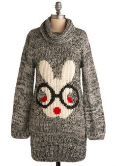 Let Your Hare Down Sweater - Grey, Red, Black, White, Print with Animals, Knitted, Casual, Long Sleeve, Winter