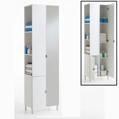 Stunning high gloss front bathroom cabinet with 4 shelves for Floor standing mirrored bathroom cabinet