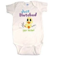 Personalized Blue New Baby Easter Creeper Just Hatched