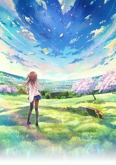 Anime girl, hills, blue sky, sakura blossoms, trees; Anime Scenery