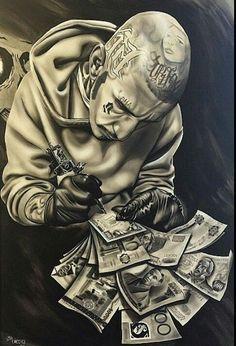Artists broke in own lifetime Chicano Art Tattoos, Gangsta Tattoos, Body Art Tattoos, Arte Cholo, Cholo Art, Lowrider Art, Tattoo Sketches, Tattoo Drawings, Art Drawings