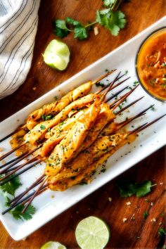 BAKED OR GRILLED  Thai Chicken Satay with Peanut Sauce | Carlsbad Cravings