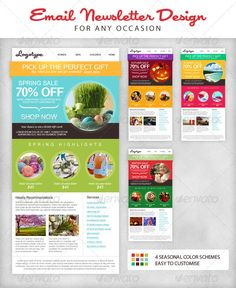 This email newsletter template presented in four color schemes. Each scheme correspond to one of the seasons of the year, revealing the best capacity through the strong colors and circled forms. This email newsletter template fits not only for online store, but for your personal blog or even online magazine. You can easily send your email marketing campaigns, updates or periodical news and impress your subscribers by the striking design of this product.
