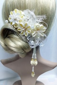 Haarkämme - Haarkamm Kanzashi Zopfhalter Hochzeitschmuck - ein Designerstück von Tatyana-Mirza bei DaWanda