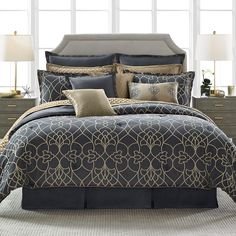 Candiceolson dotted pirouette comforter set navy gray gold