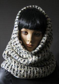 12880c04df5c Écharpe tube méga col capuche snood tour de cou hyper confortable tricot  laine écru beige bleu