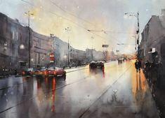 Pursuit of the sunset – Maria Cornea Watercolor Sunset, Watercolor Artwork, City Painting, City Architecture, Artist Art, Online Art Gallery, Instagram Artist, Cityscapes, Watercolors