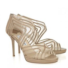 780280f3549a Jimmy Choo Miles Leather Mesh Sandals Nude Designer Shoes On Sale