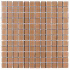 Glass Mosaic Tile Backsplash Copper 1x1