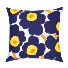 Unikko pillow, dark blue Ура, подушка на моём диване!))