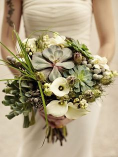 Best idea EVER. Makes me think succulents would be wonderful centerpieces that I could then keep and/or send home with people. Bouquet - Succulents/Calla Lillies/Black Eyed Susans