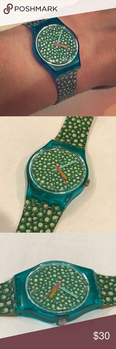 "Vintage Green Rocks Swatch Watch A classic for sure! Vintage green pebble rock patterned print Swatch watch with multi/colored hands. About 26mm wide including the crown. Fits about a 5"" to 7"" wrist. Original owner. No scratches to the face and the band is in good shape for a vintage watch. Needs a battery. From Marshall Fields now Macy's. 🚫Trades🚫PP. Swatch Accessories Watches"