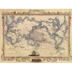 1800'S THE WORLD MAP VOYAGES CAPTAIN COOK LARGE VINTAGE POSTER - $14.85 + shipping - Framed over the bed.