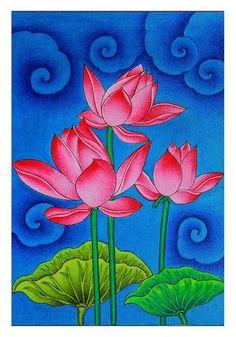 The painting is hand painted by renowned kerala mural artist Viji Murugan Kerala Mural Painting, Madhubani Painting, Ganesha Painting, Pichwai Paintings, Indian Art Paintings, Lotus Painting, Fabric Painting, Lotus Flower Paintings, Lotus Artwork