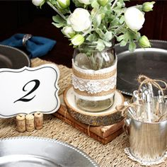 DIY vintage inspired tablescape with burlap, lace, twine and bling.