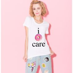 US $5.33 - F1763 Summer Fashion Girl's White T-shirt I Care Letters And Donuts Print Cute Tees Casual O-neck Tee Shirts aliexpress.com