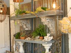 would like a shelf like this on the back patio attached to the house like a serving table