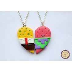 Spongebob and Patrick Friendship Necklaces, Keyrings, or Magnets ($15) ❤ liked on Polyvore featuring jewelry, necklaces, clay necklace, magnetic necklace, heart shaped jewelry, clay jewelry and chain necklaces