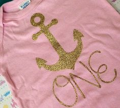 1st Birthday shirt onesie bodysuit gold glitter ONE by babyfables