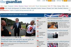 """Il quotidiano britannico """"The Guardian"""" ha ordinatoil """"final poll"""" alla società demoscopica Ipsos MORI. Le urne chiuderanno alle 23 ora italiana e tutta l'Europa trepida Edimburgo- Il quotidiano ..."""