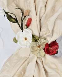 Decorative flowers for curtains and draperies. Curtains And Draperies, Drapery, Ribbon Embroidery, Flower Decorations, Ideas, Floral Decorations