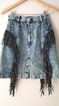 Acid Wash Skirt Size Small High Waist Jean Leather Fringe Vintage 80s Mini Denim #BeBop