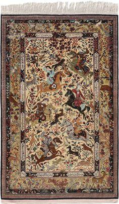 Schuler Auktionen Zürich  |   Ghom-Seide  Z-Iran, um 1990 136x212 cm (ft. 4.5x7).