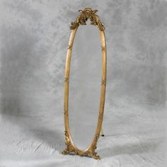 Gold Free-Standing Dressing Mirror with Metal Stand