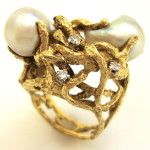 Charles de TEMPLE - yellow gold, pearl & diamonds ring , 1960 -