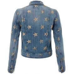 Current Elliott The Snap Denim Jacket with Gold Stars ❤ liked on Polyvore featuring outerwear, jackets, denim, gold jacket, blue jean jacket, jean jacket, denim jacket and blue jackets