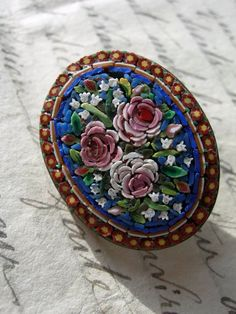 Antique Victorian oval micromosaic glass button on brass