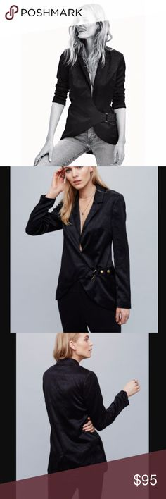 NWOT Free People Dorothea Blazer black Brand new without tags! Dress up or dress down this silky blazer featuring structured shoulders. Curved front hem with a hidden snap closure and an exposed buckle accent with brass hardware.  Care/Import  Dry Clean  Import  Measurements for size Small  Bust: 38 in Length: 29 in Sleeve Length: 25 in Free People Jackets & Coats Blazers