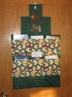 Quilted Card Holder I designed to hold all our Christmas Cards.