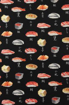 Two 2 Yards Nigiri Sushi Print on Black Fabric by by ShuShuStyle. $19.90 USD, via Etsy.