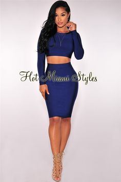 Navy Blue Long Sleeves Bandage Two Piece Set Womens clothing clothes hot miami styles hotmiamistyles hotmiamistyles.com sexy club wear evening clubwear cocktail party kim kardashian dresses