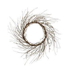 "Millwood Pines 24"" Willow Wreath Willow Wreath, Boxwood Wreath, Wreath Hanger, Berry Wreath, Grapevine Wreath, Larkspur Flower, Artificial Christmas Wreaths, Christmas Mix, Fabric Wreath"