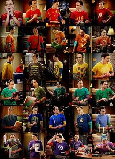 A rainbow of Sheldon's shirts! Did you know  the color of shirt Sheldon wears in each scene is often a clue to his mood.