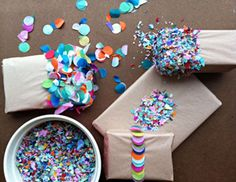 Make Your Own Dipped Confetti Gift Wrap! : Wantist