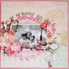 Love this for intro page of grandkids scrap books. (blue/boys)(pink/girls) Would have to substitute flowers/vines that lay flat, otherwise - such a beautiful way to begin your book of memories!