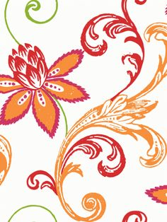 A modern look at Jacobean inspired design for wallpaper supported by the tangerine tango colour.