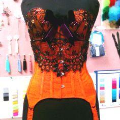 Silk and lace corset & bra with Swarovski crystal embellishment